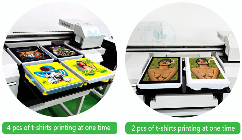 2 or 4 pcs of t-shirts printing at one time by DTG printer machine